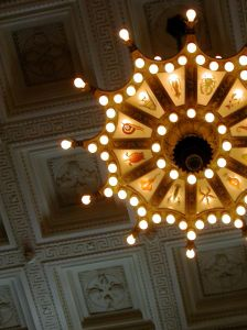 Just by swapping in LED bulbs to the Shedd's massive foyer chandeliers, the institution is saving $7,000 more a year in energy costs. Photo: Kristin Resurreccion/Flickr