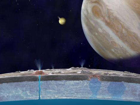 Illustration of Europa (foreground), Jupiter (r) and Io (background) laden with volcanoes that propel the sulfur to Europa's atmosphere. Image: NASA/JPL-Caltech